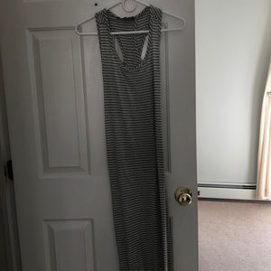 Grey and white striped maxi dress
